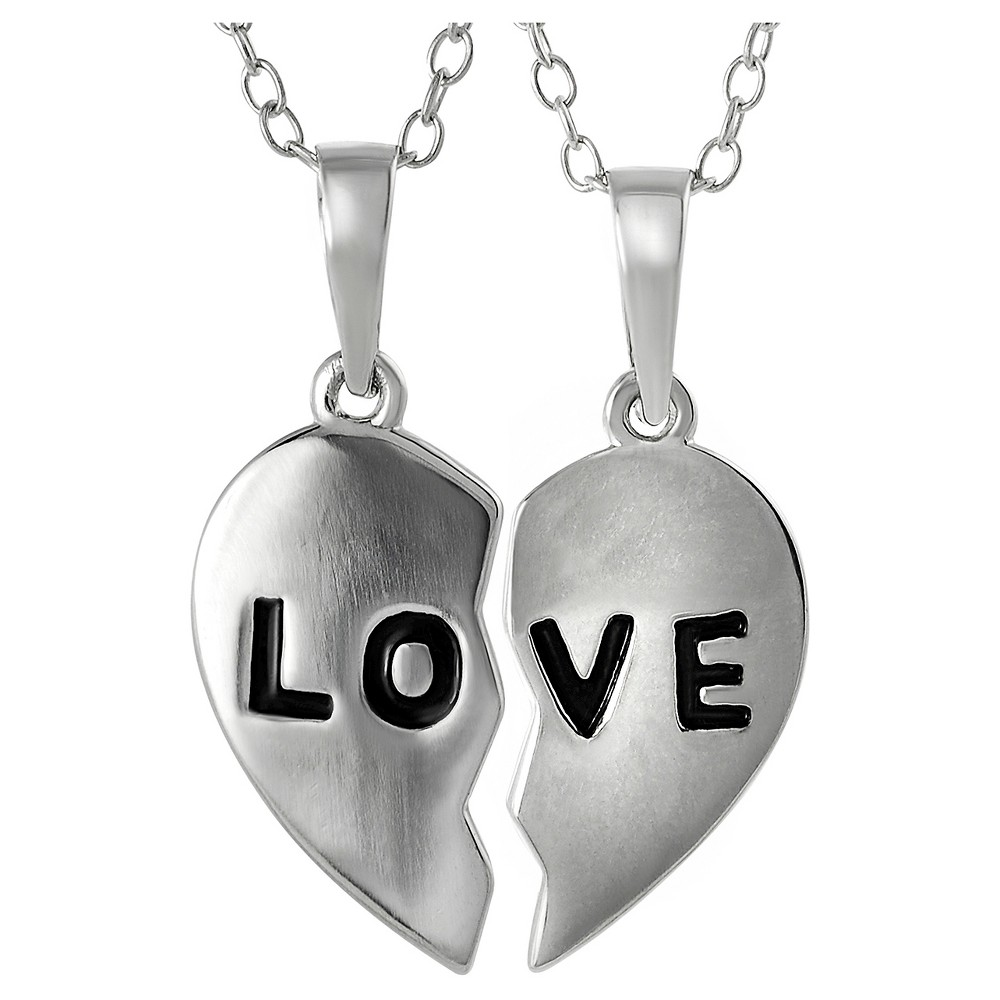 Women's Journee Collection 2 piece Love Pendant Necklace in Sterling Silver - Silver (18)