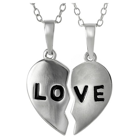"Women's Journee Collection 2 piece Love Pendant Necklace in Sterling Silver - Silver (18"") - image 1 of 4"