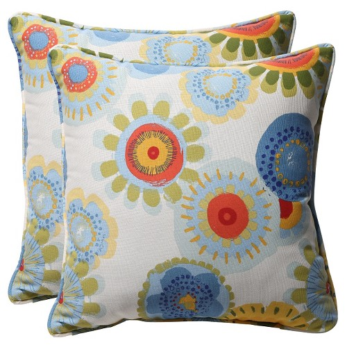 'Outdoor 2-Piece Square Toss Pillow Set - Blue/White/Yellow Floral 18'''
