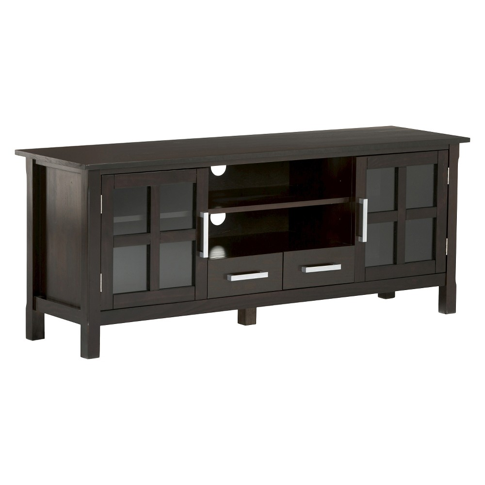 Waterloo Solid Wood 60 inch Wide TV Media Stand Dark Walnut Brown For TVs up to 65 inches - Wyndenhall