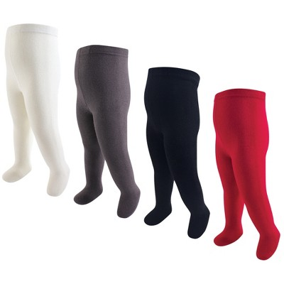 Touched by Nature Baby, Toddler and Kids Girl Organic Cotton Tights, Red Navy