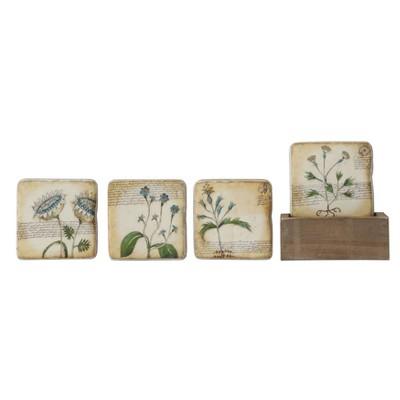 Floral Coasters In Wood Box - Set of 5 - 3R Studios