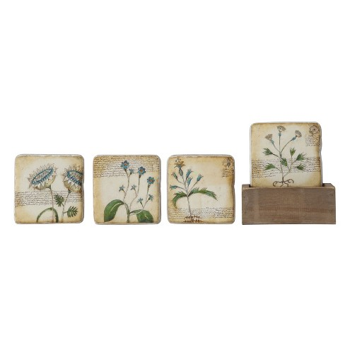 Floral Coasters In Wood Box - Set of 5 - 3R Studios - image 1 of 3