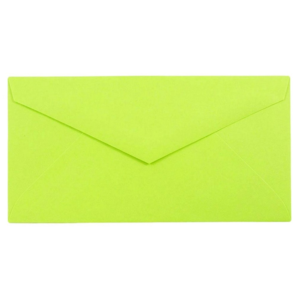 Jam Paper Brite Hue Monarch Envelopes, 3 7/8 x 7 1/2, 50 per pack, Ultra Lime, New Lime