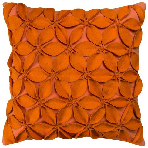 """18""""x18"""" Leaves Square Throw Pillow Orange - Rizzy Home - image 1 of 3"""