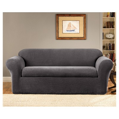 Marvelous Oxford 2 Piece Sofa Slipcover Gray   Sure Fit : Target