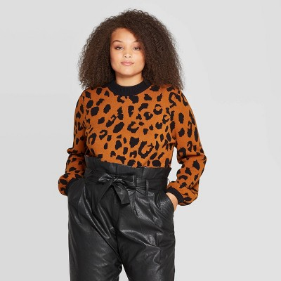 Women's Plus Size Leopard Print Long Sleeve Crewneck Pullover Sweater   Who What Wear Black by Who What Wear Black