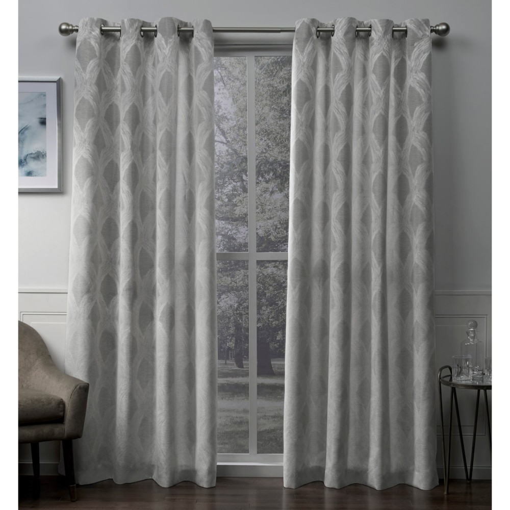 Dorado Geometric Textured Linen Jacquard Grommet Top Window Curtain Panel Pair Ash Gray 54X108 - Exclusive Home