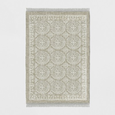 Tan Floral Woven Area Rug 7'X10' - Threshold™