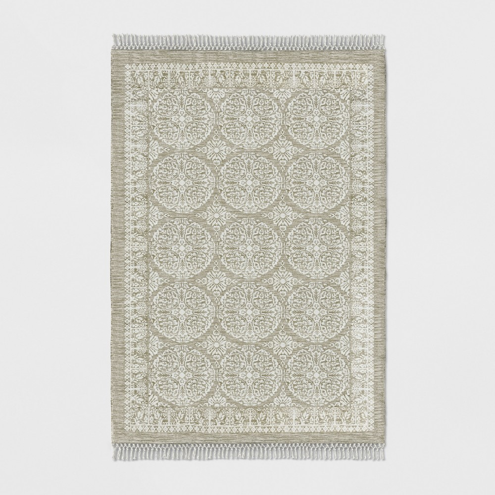 Tan Floral Woven Area Rug 7'X10' - Threshold, Beige