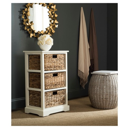 Halle Side Table With Wicker Baskets Distressed White Safavieh Target
