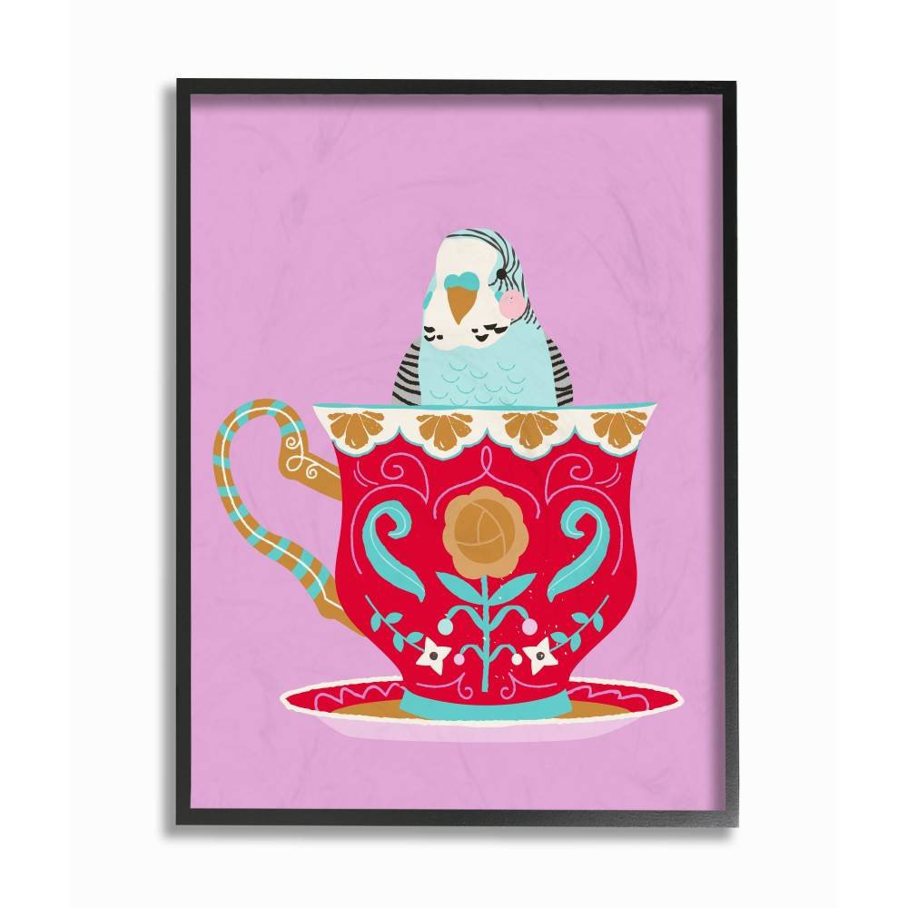"Image of ""11""""x1.5""""x14"""" Bird In Teacup Framed Giclee Texturized Art - Stupell Industries"""