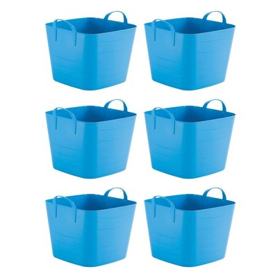 Life Story Tub Basket 6.6 Gallon Plastic Storage Tote Bin with Handles (6 Pack)