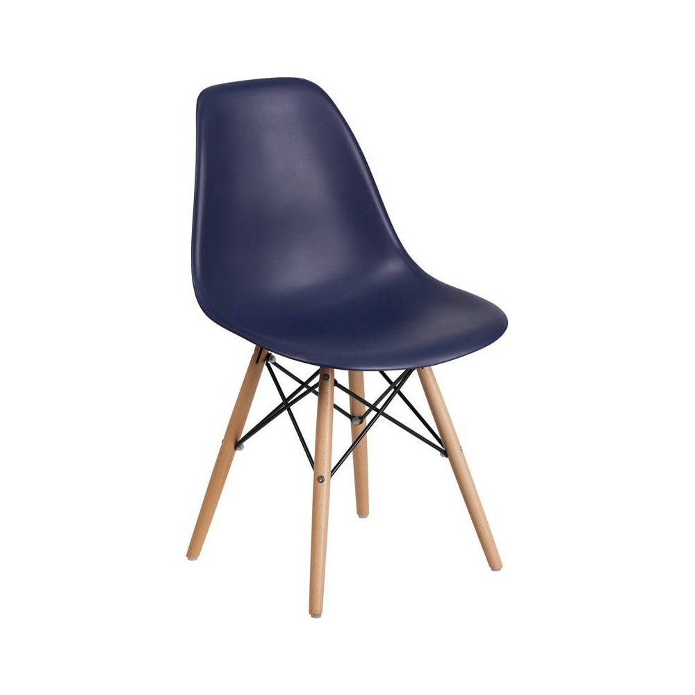 Elon Series Plastic Chair With Wooden Legs Navy Riverstone Furniture Collection