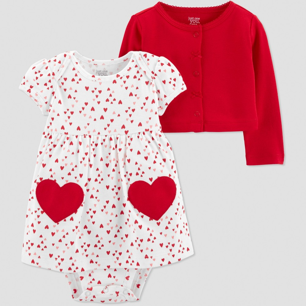 Baby Girls' 2pc Heart Dress - Just One You made by carter's Ivory Newborn, White