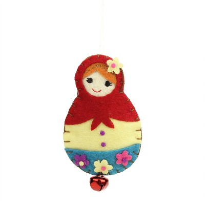 """Ganz 4"""" Plush Felt Doll with Jingle Bell Christmas Ornament - Red/Blue"""