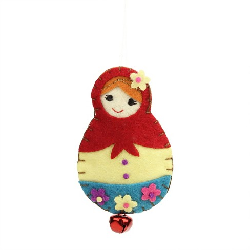 """Ganz 4"""" Plush Felt Doll with Jingle Bell Christmas Ornament - Red/Blue - image 1 of 1"""