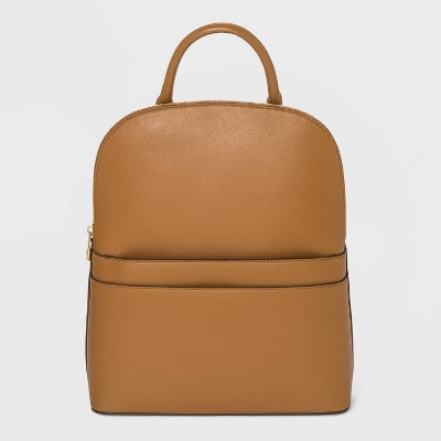 Structured Mini Zip Closure Dome Backpack - A New Day™ Caramel