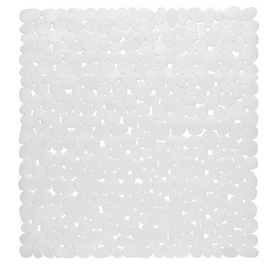 """Carnation Home Fashions Stall Size""""Pebbles"""" Vinyl Bath Mat in white"""