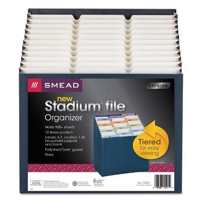 Smead 12-Pocket Stadium File 12 1/4 x 13 5/8 Navy Letter 70211