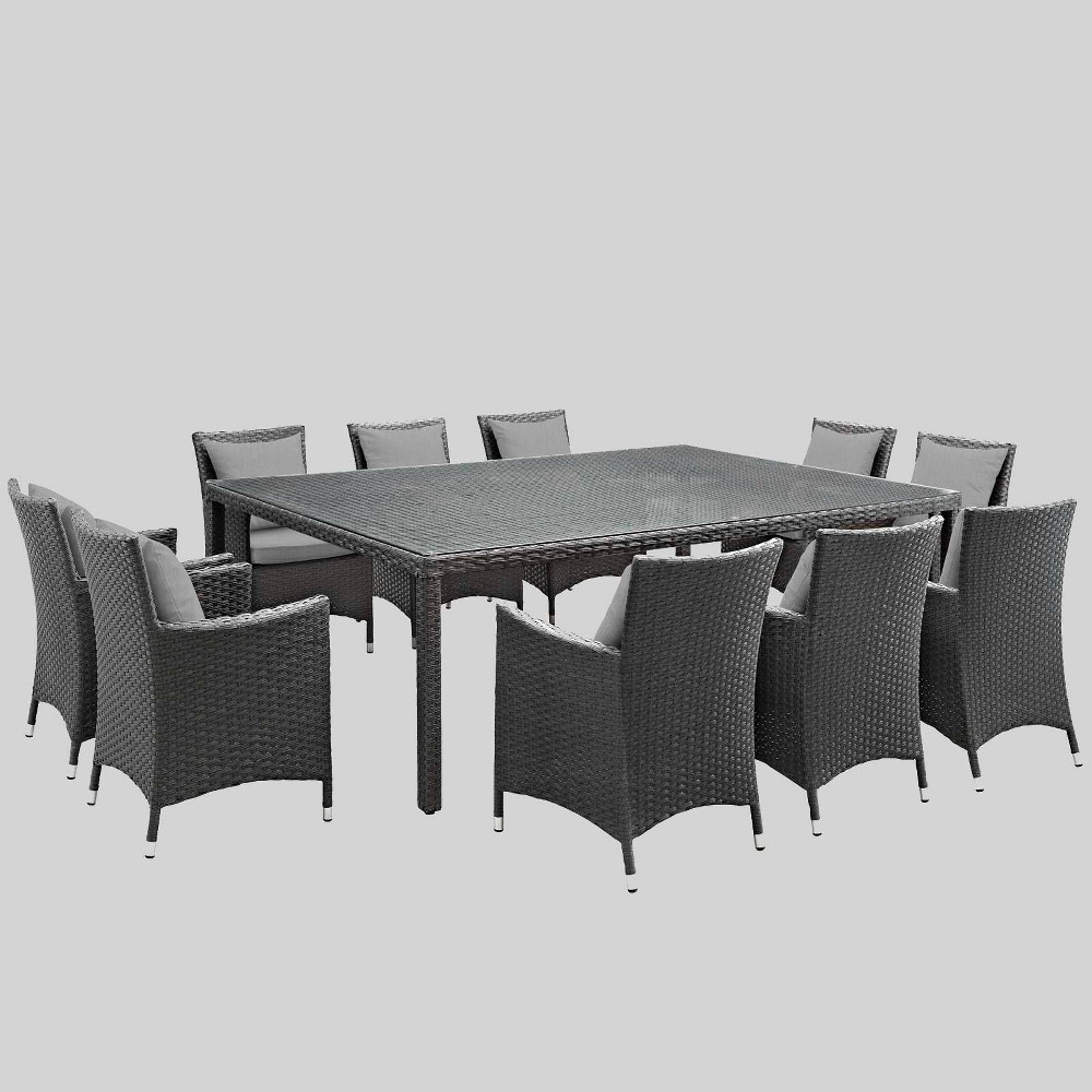 Sojourn 11pc Outdoor Dining Set with Sunbrella Fabric - Gray - Modway