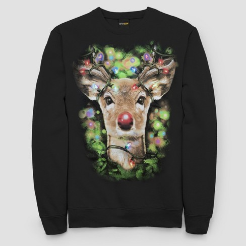 Mens Ugly Christmas Led Light Rudolph Long Sleeve Pullover Sweater