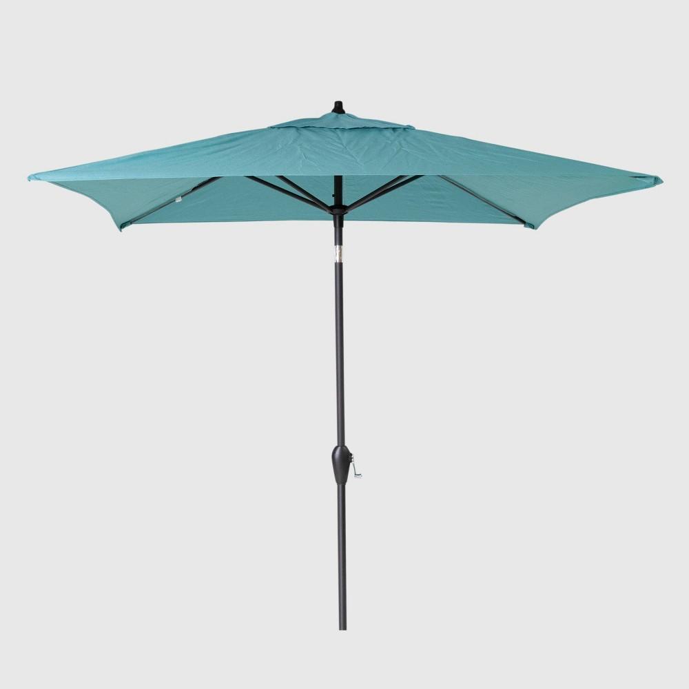 6.5' Square Patio Umbrella Turquoise - Black Pole - Threshold
