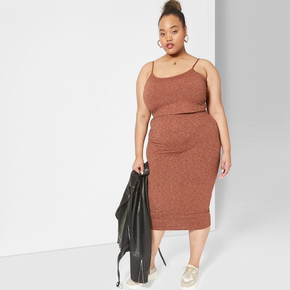 Women's Plus Size Knit Midi Skirt - Wild Fable Orange 3X