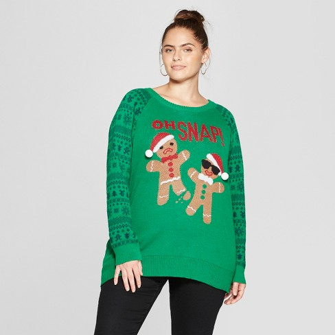 Womens Plus Size Oh Snap Gingerbread Ugly Sweater Well Worn