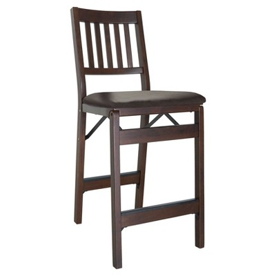 Set of 2 Folding Barstools, Espresso with Bonded Leather - Stakmore