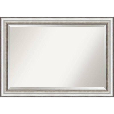"41"" x 29"" Salon Framed Bathroom Vanity Wall Mirror Silver - Amanti Art"