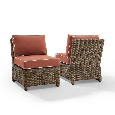 Bradenton 2pk Outdoor Wicker Chairs - Weathered Brown/Sangria - Crosley