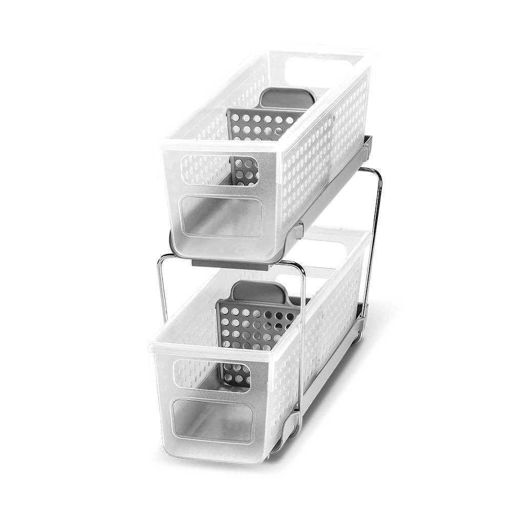 Image of Mini Two-Tier Organizer with Dividers Frost/Gray - Madesmart