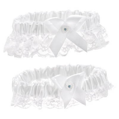 White Heart Keep/Throw Wedding Garter Set