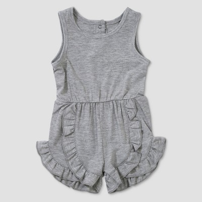 Baby Girls' Afton Street Sleeveless Ruffle Romper - Light Pebble 0-3M