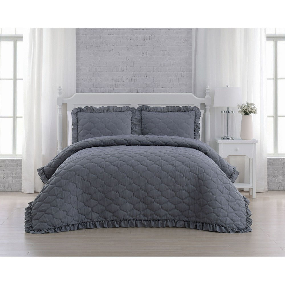 Queen 3pc Melody Quilt Set Gray - Geneva Home Fashion