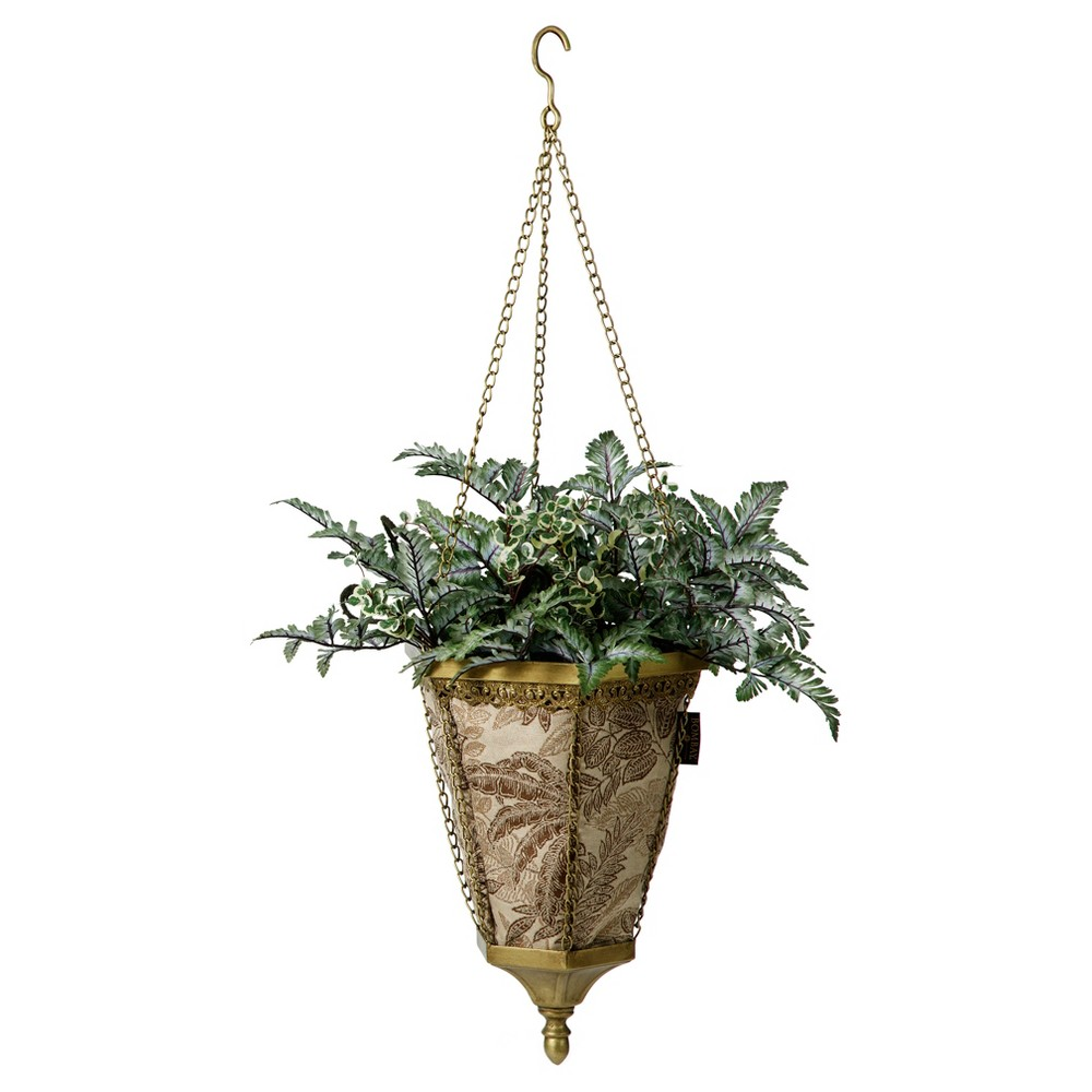 Image of Naya Hanging Fabric Planter With Palmetto Mocha Liner - Gold - Bombay Outdoors