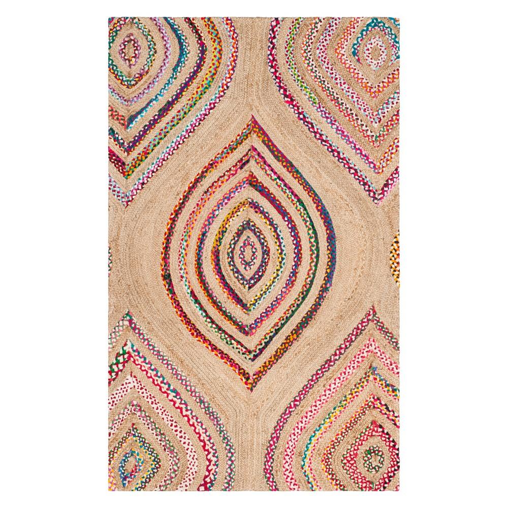 6'X9' Stripe Woven Area Rug Natural - Safavieh, White