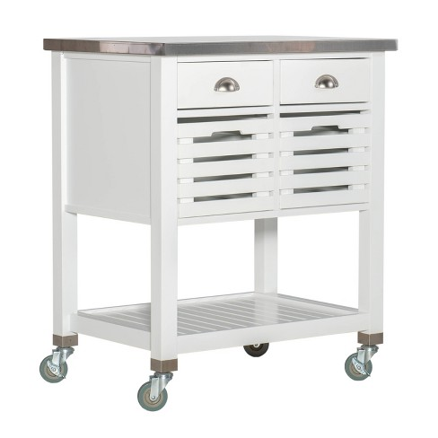 2 Piece Robbin Wood Kitchen Cart Wood White Linon Target