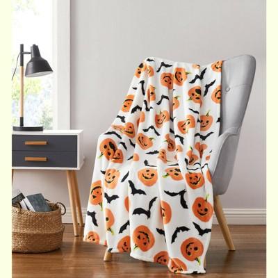 Halloween Pumpkins Bats Rustic Orange & White Ultra Soft & Plush Throw Blankets
