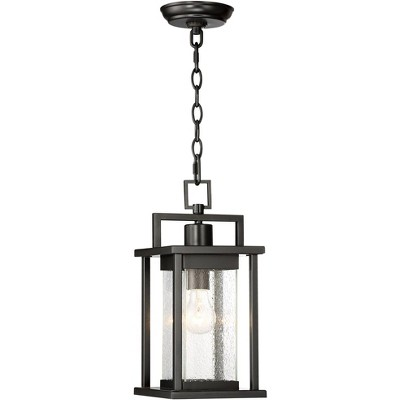 """John Timberland Modern Outdoor Ceiling Light Hanging Lantern Painted Dark Gray 15"""" Spotted Clear Glass for Exterior Porch Patio"""