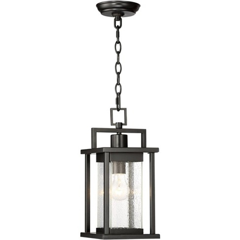 """John Timberland Modern Outdoor Ceiling Light Hanging Lantern Painted Dark Gray 15"""" Spotted Clear Glass for Exterior Porch Patio - image 1 of 4"""