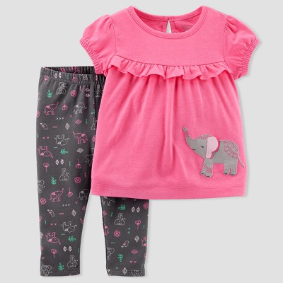 Baby Girls' Elephant 2pc Pants Set - Just One You® made by carter's Pink/Gray Baby