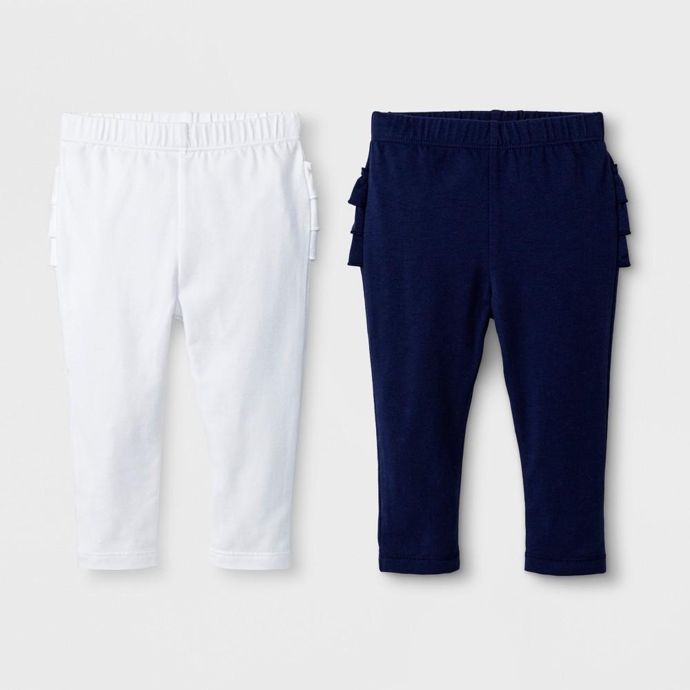 Baby Girls' 2pk Leggings Set - Cat & Jack Nightfall Blue/True White 12M