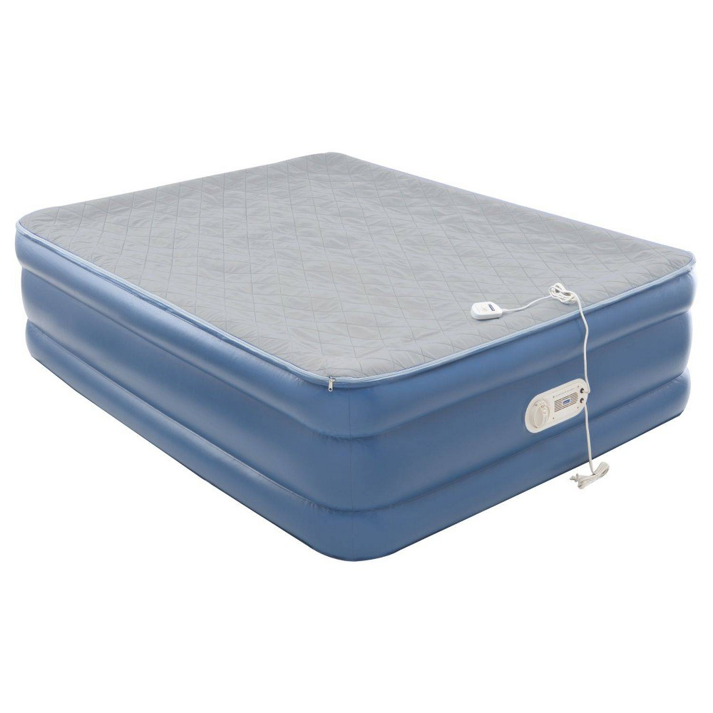 Image of AeroBed Quilted Foam Topper Queen Air Mattress with Built in Air Pump - Blue