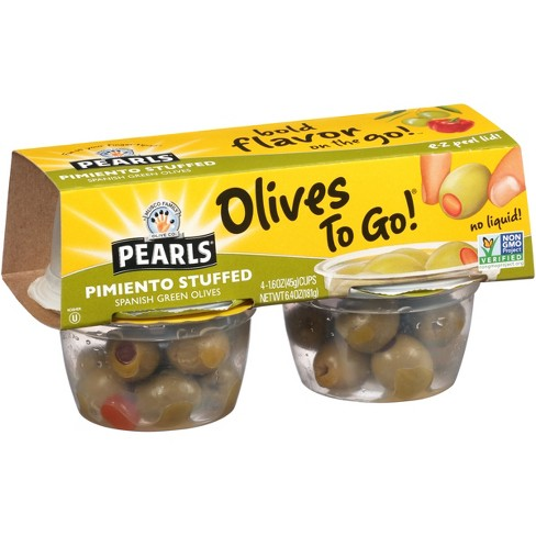 Pearls To-Go Pimiento Stuffed Olives - 1.4oz/4ct - image 1 of 2