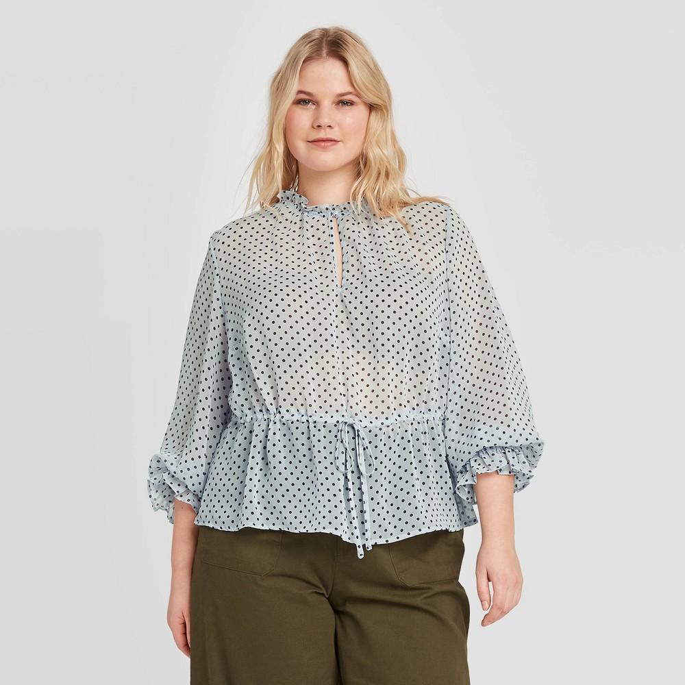Women's Plus Size Polka Dot Long Sleeve Ruffle Detail Drawstring Blouse - Who What Wear Blue 2X, Women's, Size: 2XL was $29.99 now $16.49 (45.0% off)