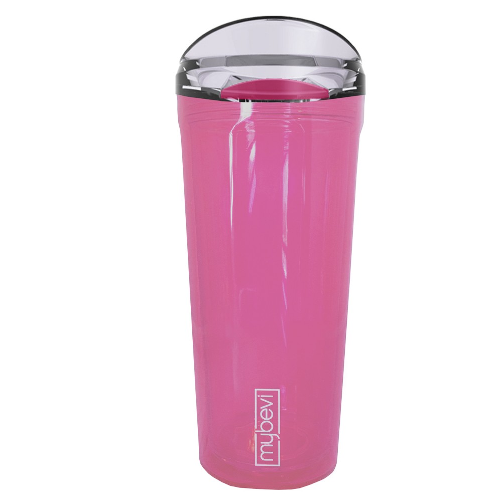 Image of MyBevi 24oz Quatro Double Wall Tritan Hydration Bottle with Threaded Lid Pink