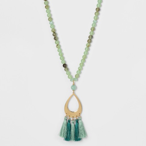 Glitzy, Filigree Pendant, and Tassel Long Necklace - A New Day™ Green/Gold - image 1 of 3
