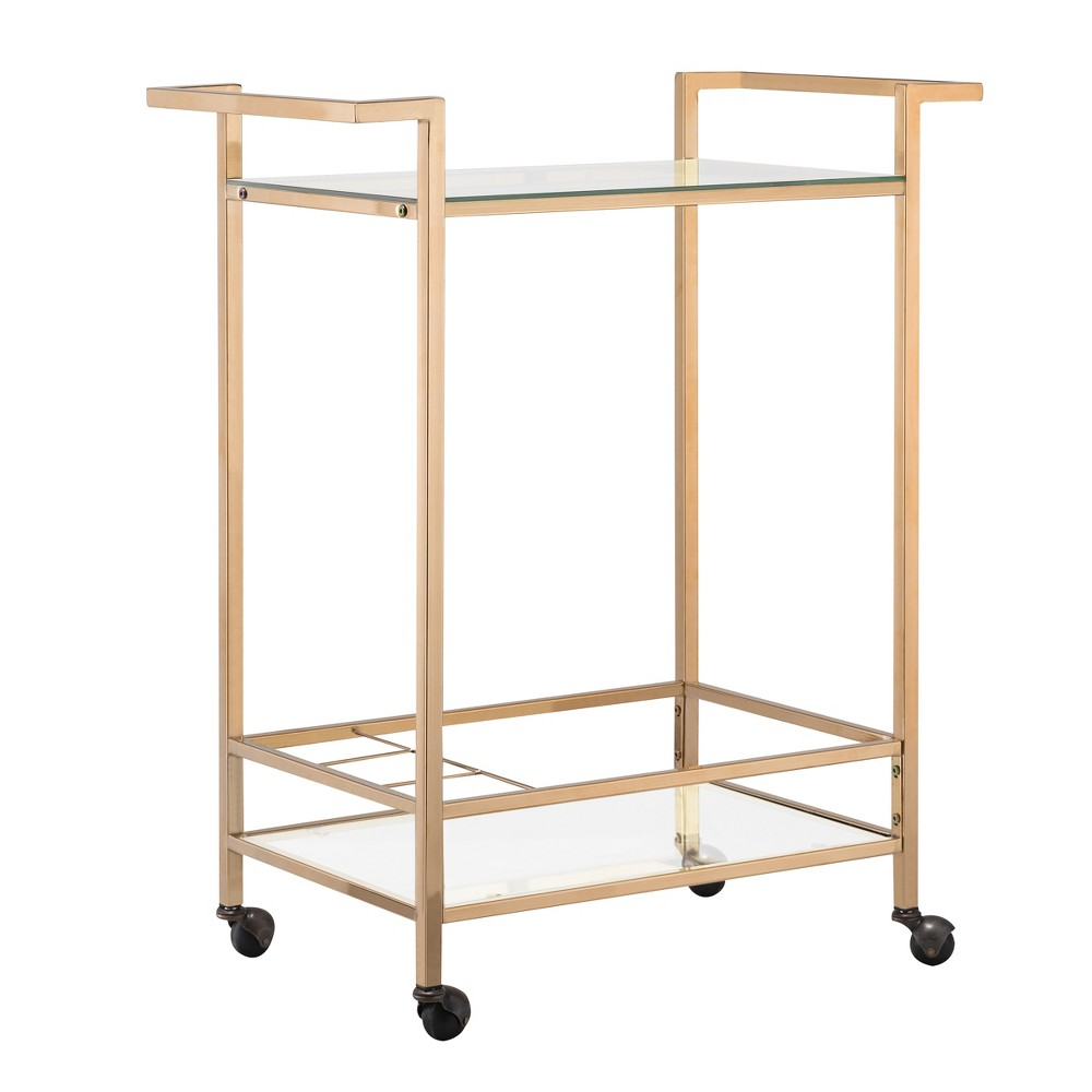 Cara Rolling Wine Cart Golden Chrome - Carolina Chair and Table
